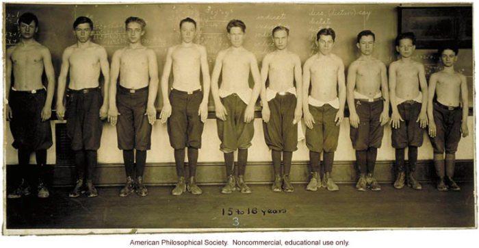 Estudio antropométrico en Baltimore, muchachos 15-16, estructura corporal, 1922. (Imagen: Archivo Eugenesia)
