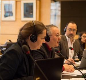 Foto: Ev Blaine, Dan Ghattas y Morgan Carpenter, sesión informativa sobre intersexualidad al Comité de la ONU sobre los Derechos de las personas con Discapacidad, 26 de Marzo de 2015. Fotografía de Nigel Kingston, proporcionada por Diane Kingston OBE.