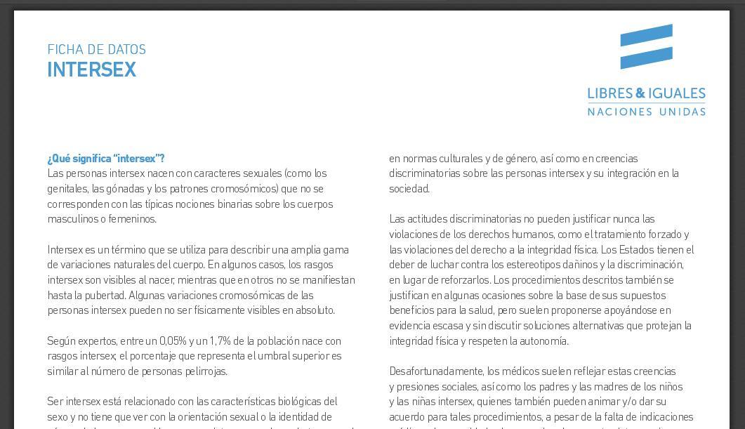 Ficha de Datos sobre INTERSEX de las Naciones Unidas – Brújula ...